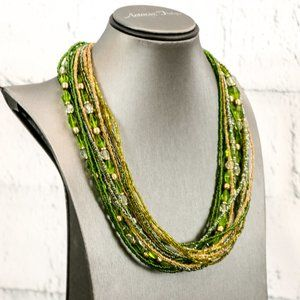 Green Coldwater Creek Statement Necklace